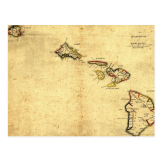 Vintage 1837 Hawaii Map -  Hawaiian Islands Postcard