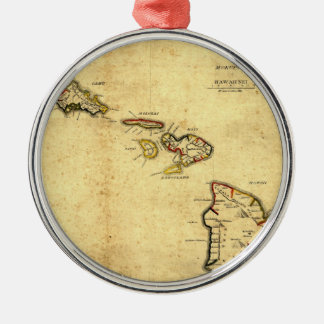 Vintage 1837 Hawaii Map -  Hawaiian Islands Round Metal Christmas Ornament