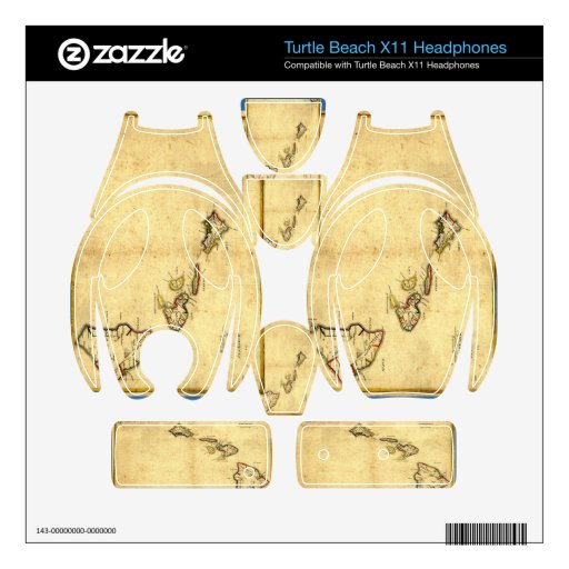 Vintage 1837 Hawaii Map -  Hawaiian Islands Turtle Beach X11 Skins