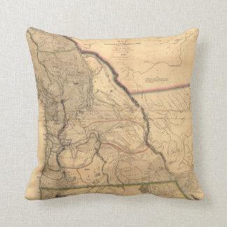 Vintage 1841 Oregon Map Throw Pillow