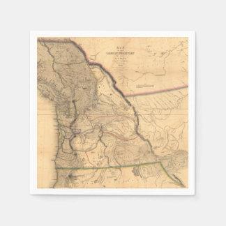 Vintage 1841 Oregon Pacific Northwest Map Paper Napkin