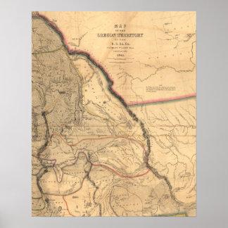 Vintage 1841 Oregon Pacific Northwest Map Poster