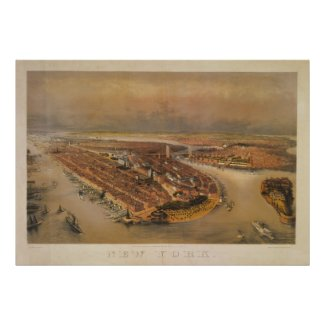 Vintage 1847 New York City Bird's Eye View Map print