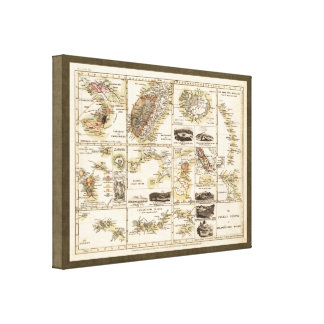 Vintage 1850 Vulcanos in the Atlantic Ocean Map Stretched Canvas Print