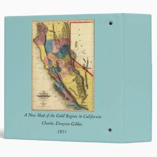 Vintage 1851 California Gold Region State Map 3 Ring Binder