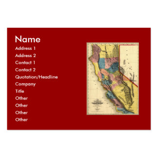 Vintage 1851 California Gold Region State Map Large Business Cards (Pack Of 100)