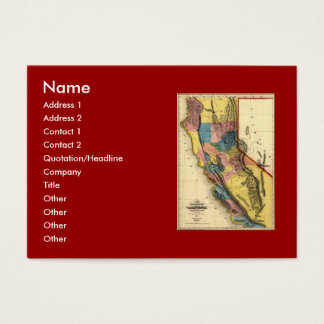 Vintage 1851 California Gold Region State Map Business Card