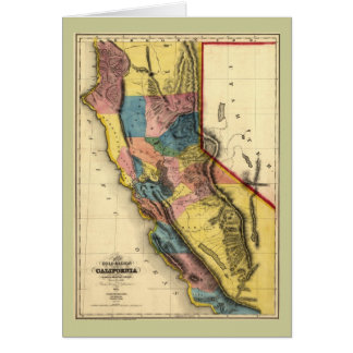 Vintage 1851 California Gold Region State Map Card
