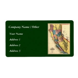Vintage 1851 California Gold Region State Map Labels
