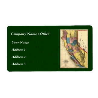 Vintage 1851 California Gold Region State Map Label