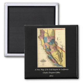Vintage 1851 California Gold Region State Map 2 Inch Square Magnet