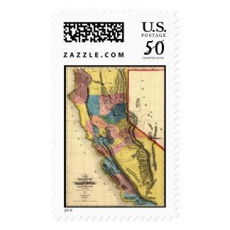 Vintage 1851 California Gold Region State Map Postage