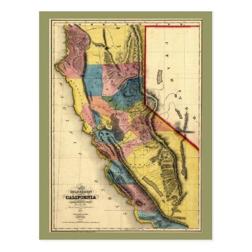Vintage 1851 California Gold Region State Map Postcards