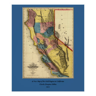 Vintage 1851 California Gold Region State Map Posters