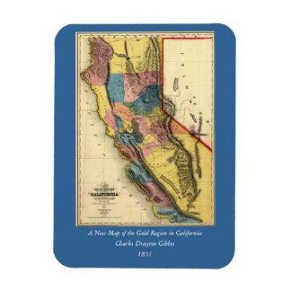 Vintage 1851 California Gold Region State Map Rectangular Photo Magnet