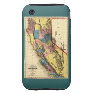 Vintage 1851 California Gold Region State Map Tough iPhone 3 Cases