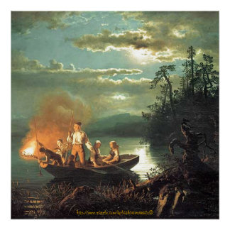 """""""Vintage-1851-nightime family fishing by harpoonin Poster"""