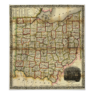 Vintage 1851 Ohio Map Poster