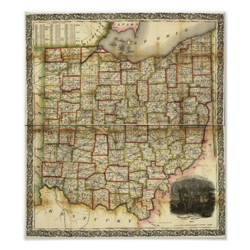 Vintage 1851 Ohio Map Poster