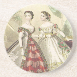Vintage 1860s Women Sandstone Coaster