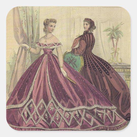 Vintage 1860s Women Square Sticker