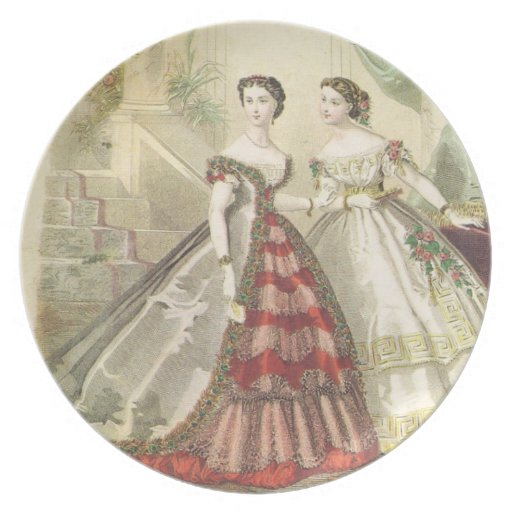 Vintage 1860s Women V2 Party Plates