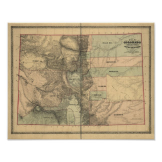Vintage 1862 Map of Colorado Territory Poster