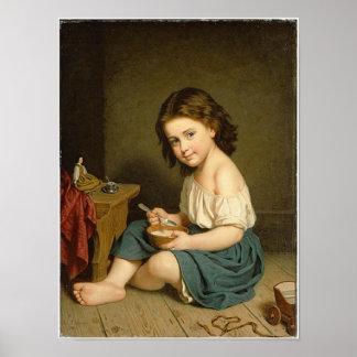Vintage 1866 Girl Super Time Art  Print Poster