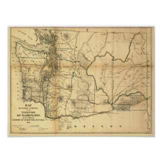 Vintage 1866 Washington Territory Map Poster