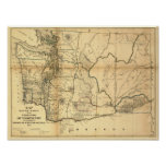 Vintage 1866 Washington Territory Map Posters