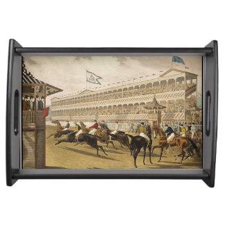Vintage 1868 de la carrera de caballos bandeja