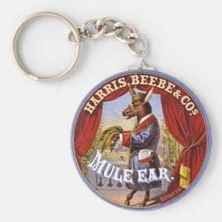 Vintage 1868 del anuncio del tabaco del oído de la llavero redondo tipo pin