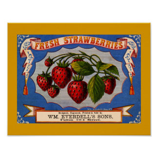 VINTAGE 1868 FRESH STRAWBERRIES LABEL Copy Poster