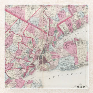 Vintage 1868 Map of New York Glass Coaster