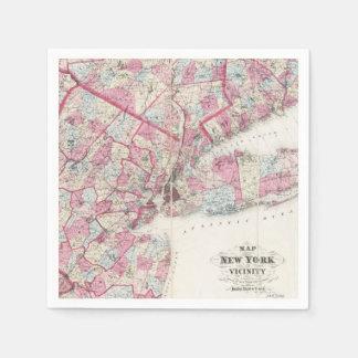 Vintage 1868 Map of New York Paper Napkin
