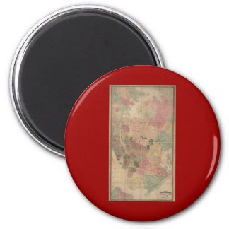 Vintage 1872 Brooklyn Map - New York City, Queens 2 Inch Round Magnet