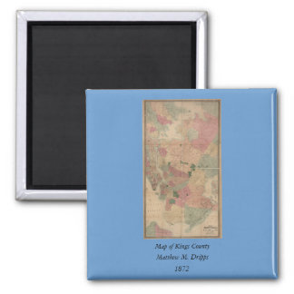 Vintage 1872 Brooklyn Map - New York City, Queens 2 Inch Square Magnet