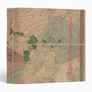Vintage 1872 Brooklyn Map - New York City, Queens 3 Ring Binder