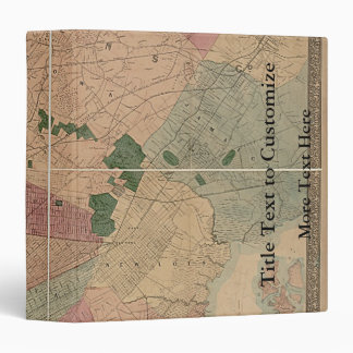 Vintage 1872 Brooklyn Map - New York City, Queens 3 Ring Binder