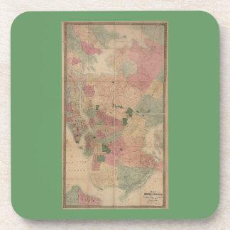 Vintage 1872 Brooklyn Map - New York City, Queens Beverage Coaster