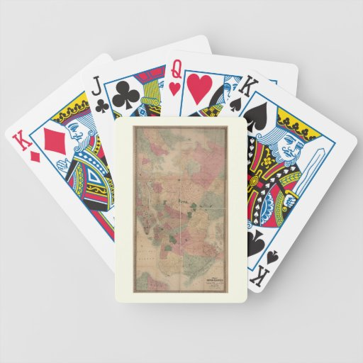 Vintage 1872 Brooklyn Map - New York City, Queens Bicycle Playing Cards