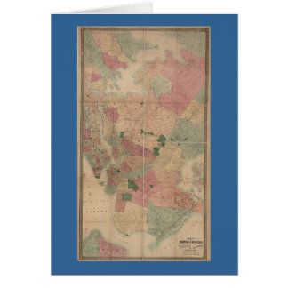 Vintage 1872 Brooklyn Map - New York City, Queens Card