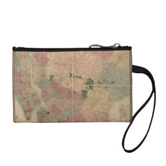 Vintage 1872 Brooklyn Map - New York City, Queens Change Purse