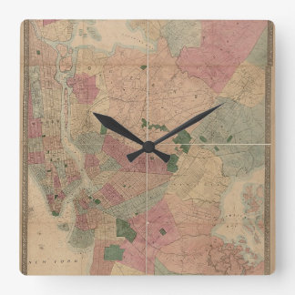 Vintage 1872 Brooklyn Map - New York City, Queens Square Wallclock