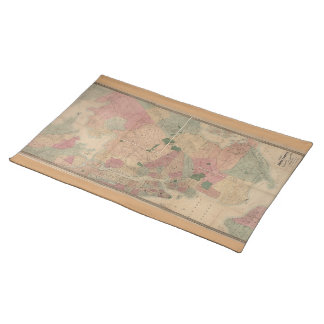 Vintage 1872 Brooklyn Map - New York City, Queens Cloth Placemat