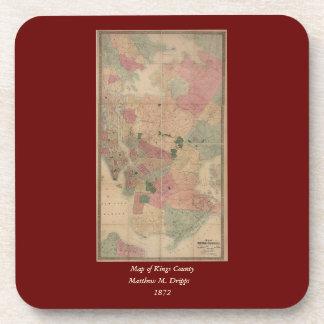 Vintage 1872 Brooklyn Map - New York City, Queens Coaster