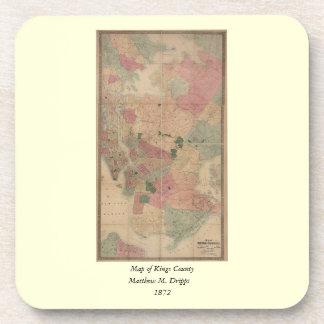 Vintage 1872 Brooklyn Map - New York City, Queens Drink Coaster