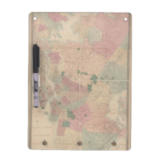 Vintage 1872 Brooklyn Map - New York City, Queens Dry Erase Board