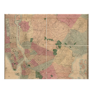Vintage 1872 Brooklyn Map - New York City, Queens Flyer