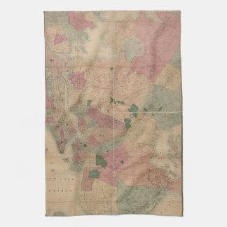 Vintage 1872 Brooklyn Map - New York City, Queens Hand Towel